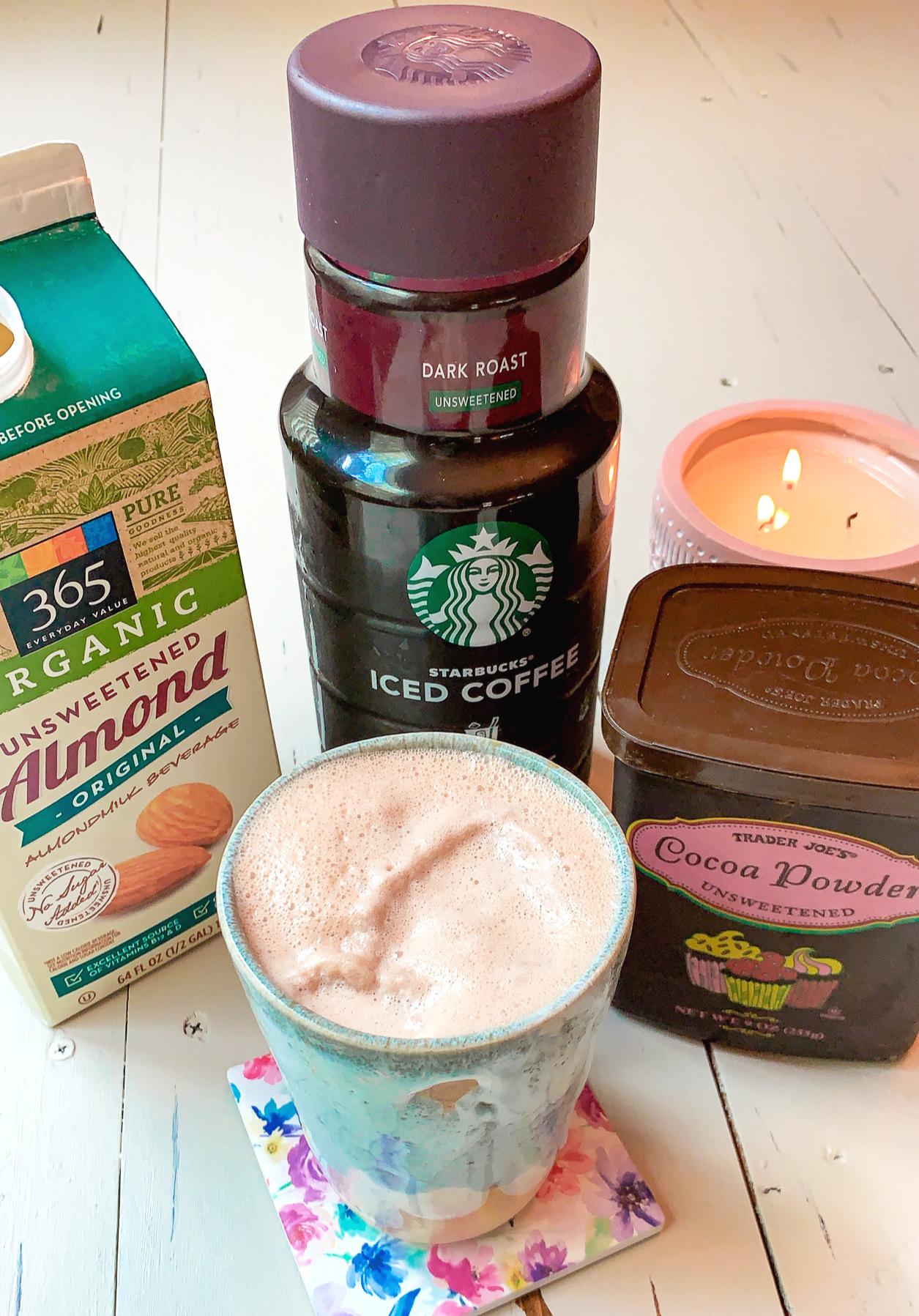 healthy Starbucks, healthy food, diet, almond milk, vegan, gluten free, coffee, iced late, sugar free, blended, healthy Starbucks, mocha, latte, fall drinks, recipe
