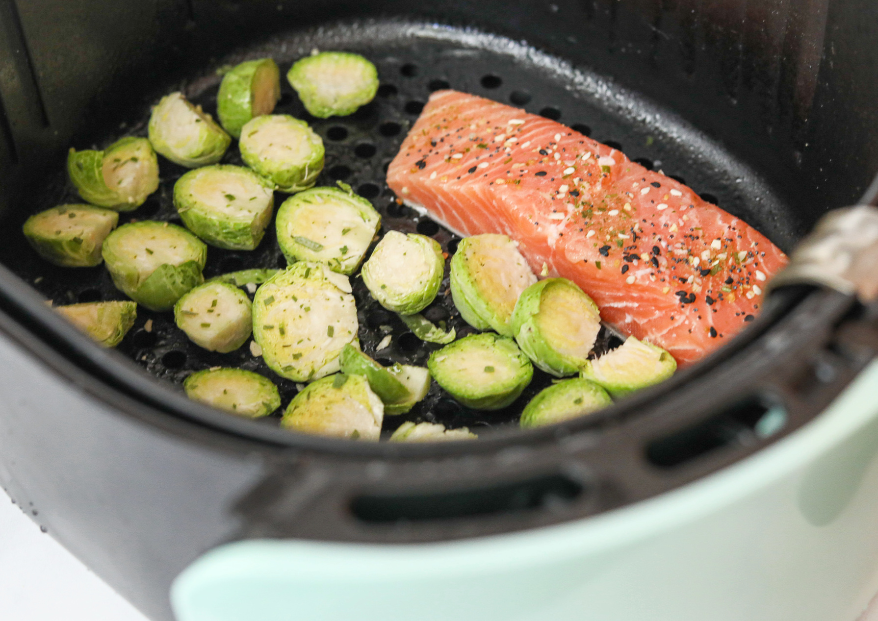 air fryer salmon, trader joes, Brussels sprouts, whole30, whole30 food, whole30 recipes, whole30 lunch, gluten free, dairy free, Brussels sprouts crispy, air fried, air fryer, eat better, Whole Foods, grain free, low carb