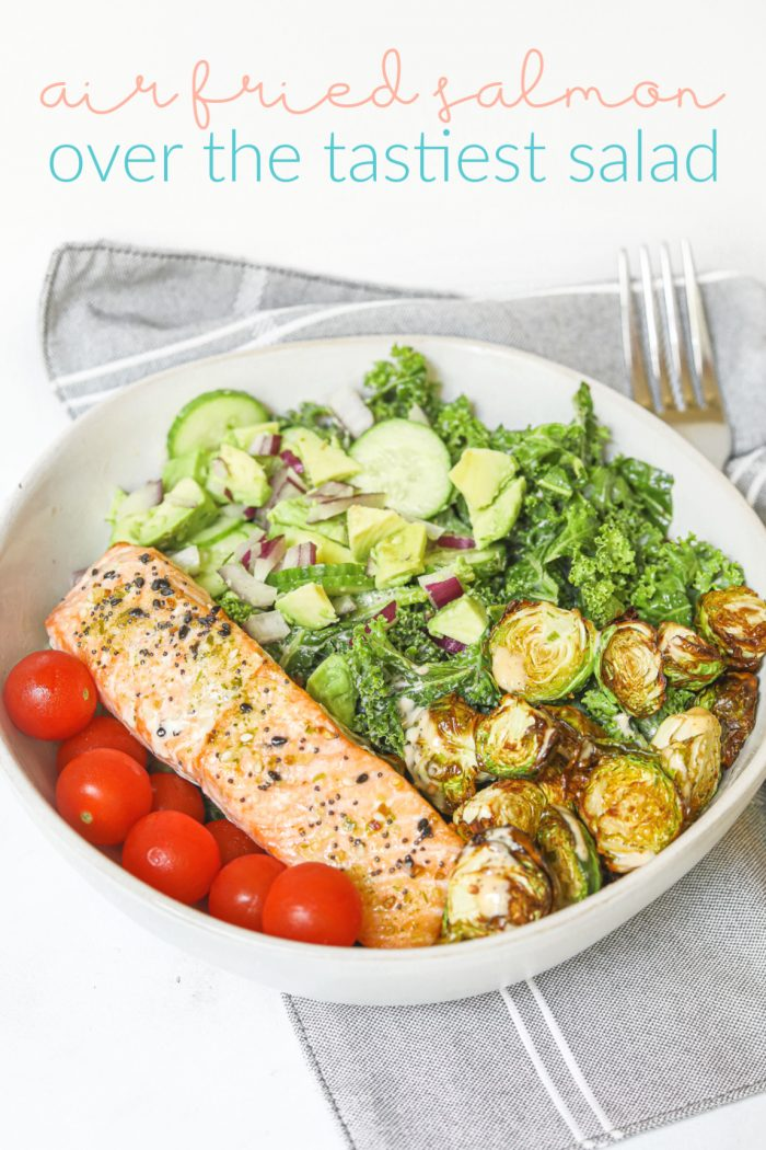 Avocado & Kale Salad with Air Fried Salmon & Brussels