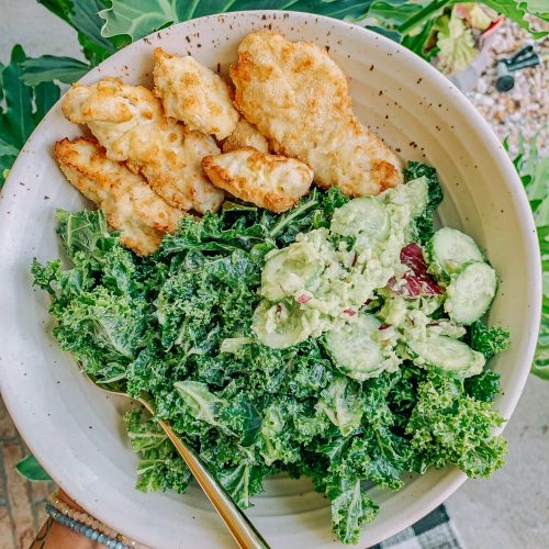 chicken fingers, almond flour, air fried, kale salad, dinner, healthy food, Whole Foods, low carb
