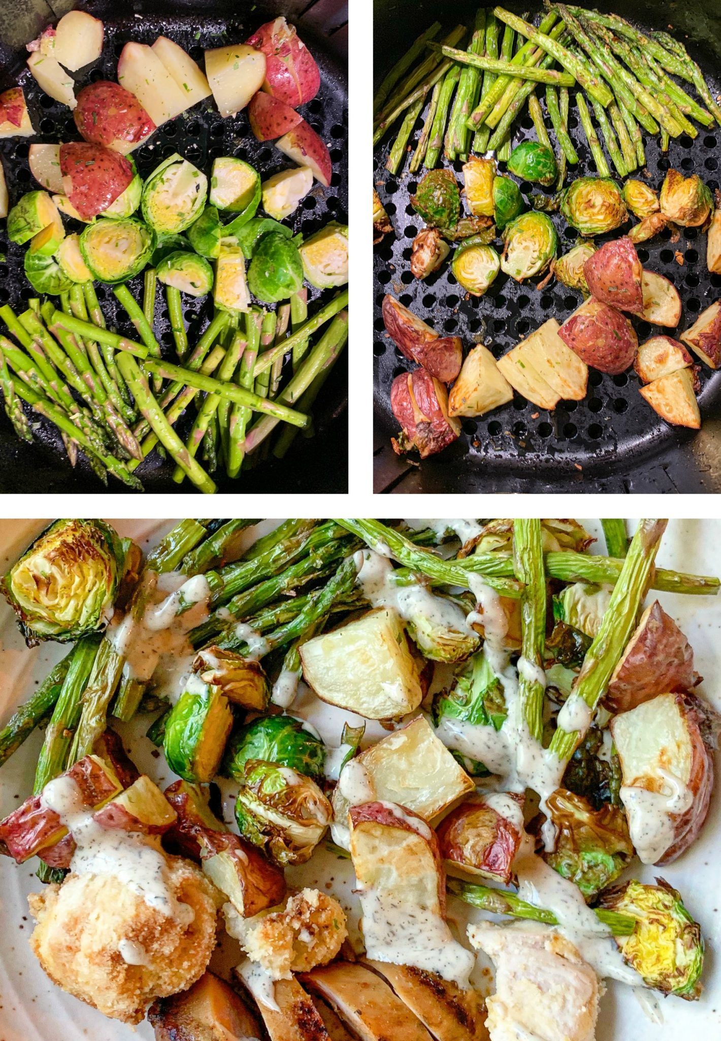 air fryer veggies, air fried Brussels sprouts asparagus, potatoes salmon, roasted veggies, lunch, air fried