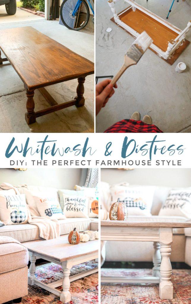 Diy Farmhouse Coffee Table, Whitewash Distressed Furniture