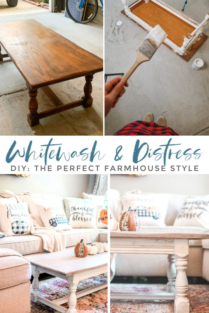 How to Whitewash & Distress Furniture: DIY Farmhouse Coffee Table
