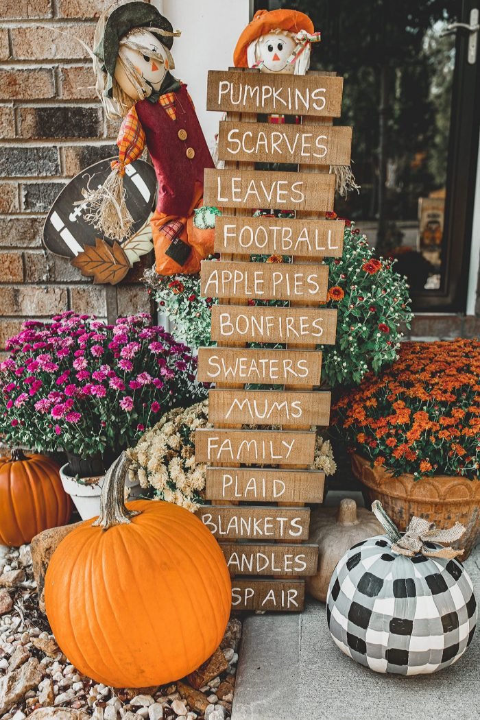 Front Porch for Fall: Painted Plaid Pumpkin & Diy Fall Plank Sign!