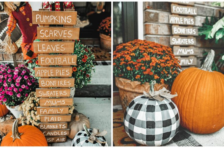 Front Porch For Fall Painted Plaid Pumpkin Diy Fall Plank