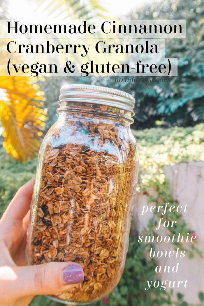 Homemade Cinnamon Cranberry Granola (vegan & gluten-free)