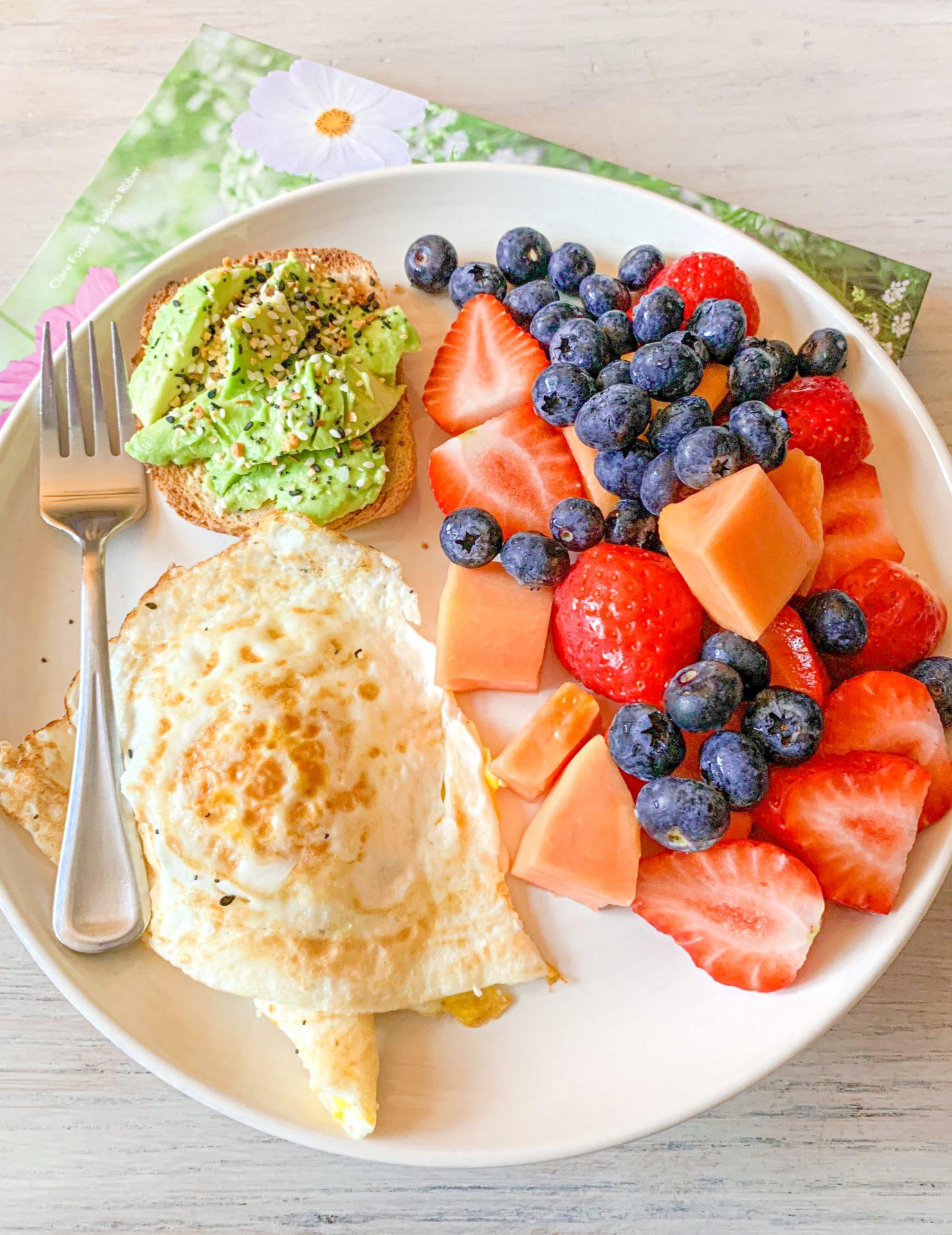 breakfast, dairy free, gluten free, eggs, fresh fruit, avocado, breakfast