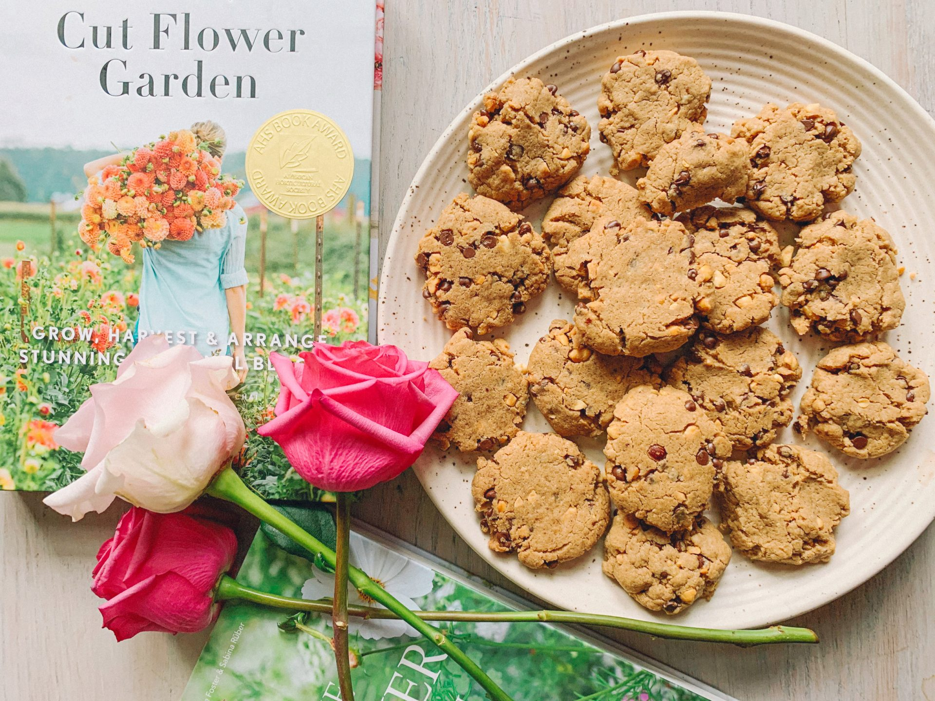 floret farm book, homemade vegan chocolate chip cookies