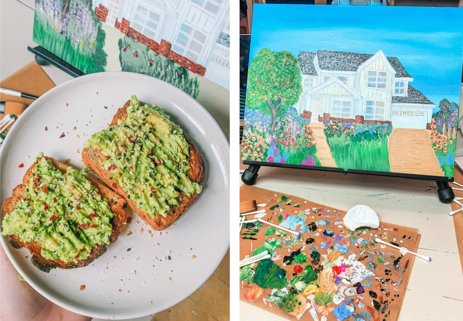 avocado toast gluten free with everything but the bagel seasoning , painting my house, cottage garden