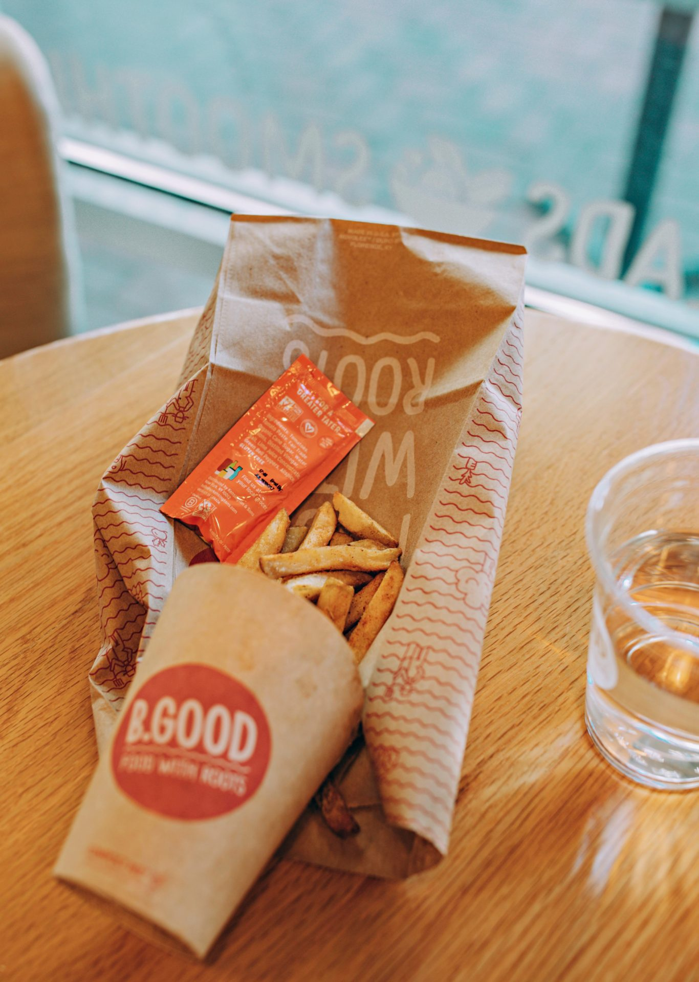 Charlotte uptown, be good, French fries , sparkling water, caribou, rx bar, vanilla almond,