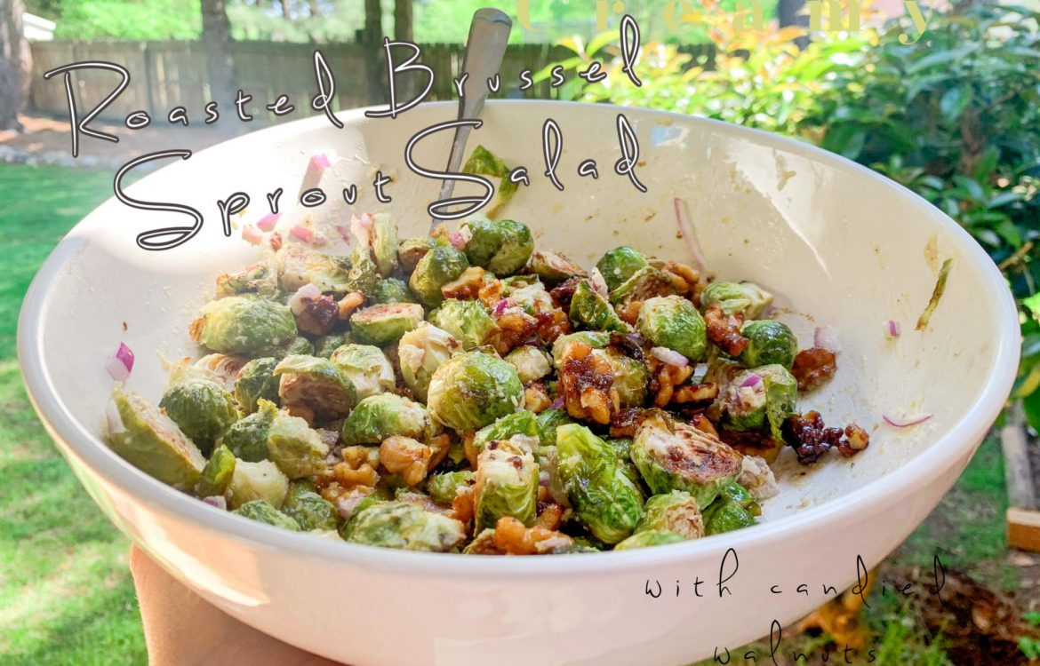 brussels sprouts, vegan, salad, brussel sprout salad, summer recipe, easy, creamy, walnuts, roasted, vegetable side dish, roasted vegetables, onion, healthy eating, summer picnic, barbecue