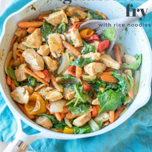 Chicken and vegetable stir fry, gluten free, dairy free, dinner, recipe, low carb, rice noodles, cooking food