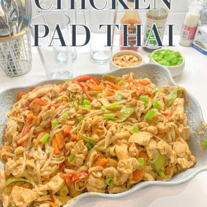 pad thai, gluten free, rice noodles, dinner, chicken, food, cooking, recipe, carrots, Thai recipe