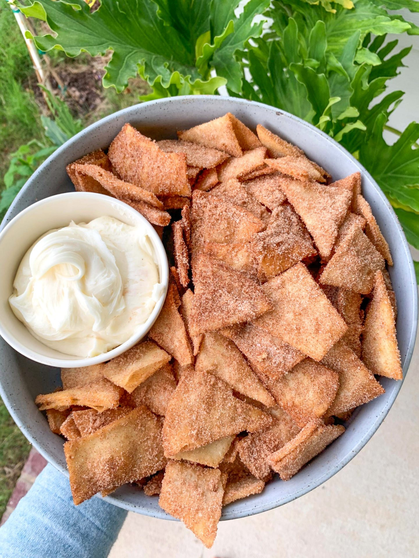 gluten free, dairy free, vegan, snack, party food, tortillas, recipe, cinnamon sugar, dessert, chips, cream cheese icing, cream cheese frosting, kite hill, dessert recipe, vegan recipes, food for the 4th of July,