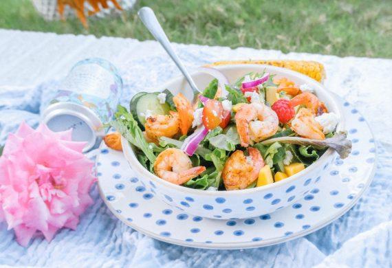 salad, shrimp, backyard, picnic, gluten free, summer, shrimp salad, healthy dinner, cupcakes, corn on the cob, goat cheese, healthy, cupcakes