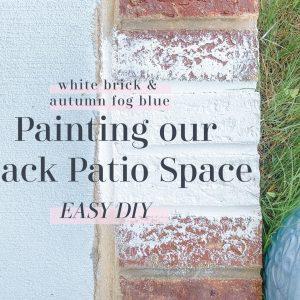 backyard, backyard makeover, back patio, furniture, painting back patio, brick painting, painting brick white, autumn fog, home decorating, southern, valspar