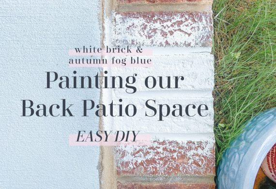 backyard, backyard makeover, back patio, furniture, painting back patio, brick painting, painting brick white, autumn fog, home decorating, southern, valspar