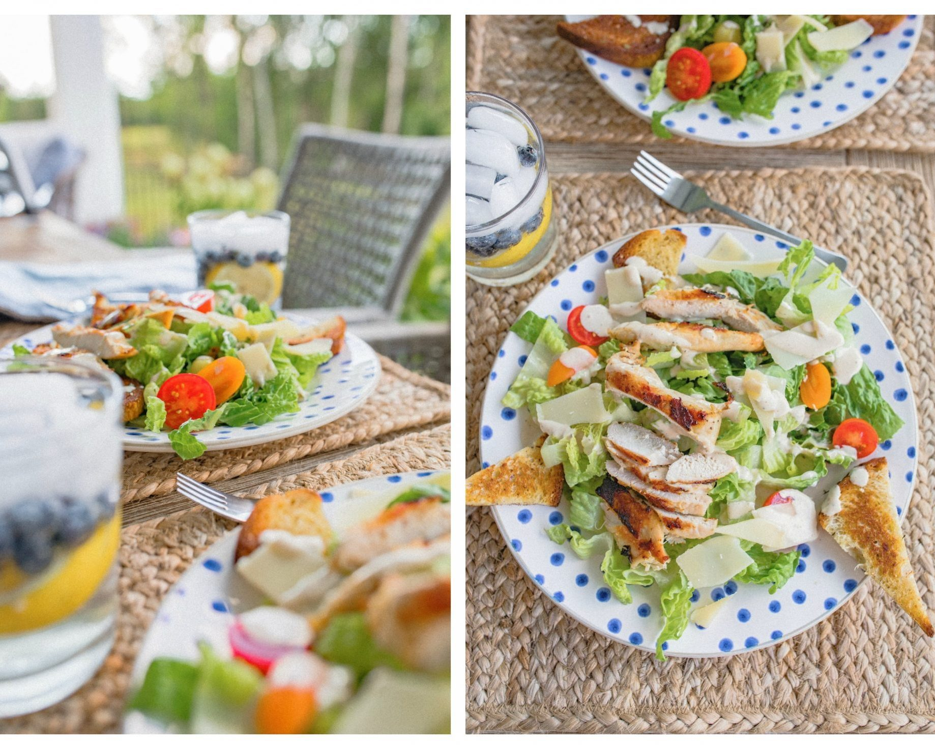 Italian summer, Caesar salad, fresh dinner, gluten free, grilled chicken, healthy dinner, farm to table, farm fresh, delicious , food dinner, summer nights, southern nights, backyard picnics, salads, caesar dressing