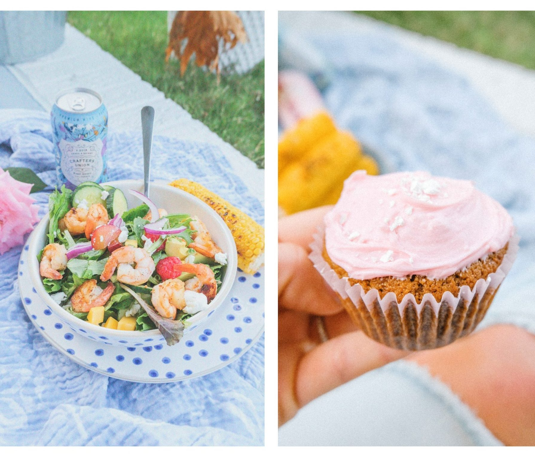 salad, shrimp, backyard, picnic, gluten free, summer, shrimp salad, healthy dinner, cupcakes, corn on the cob, goat cheese, healthy, cupcakes