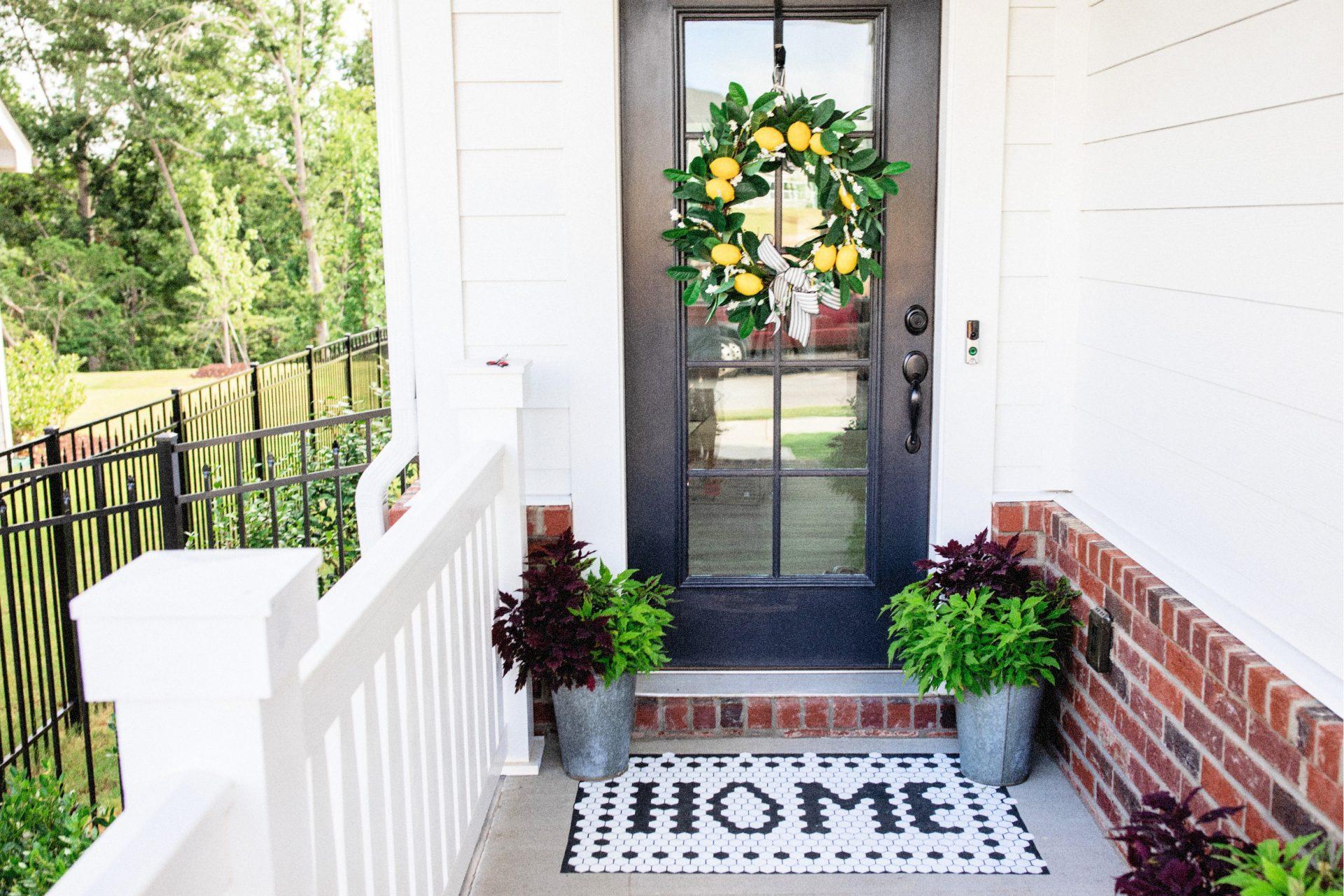 stencil, penny tile stencil, penny tile porch, royal stencil, stenciling concrete, stenciling porch, stencil porch