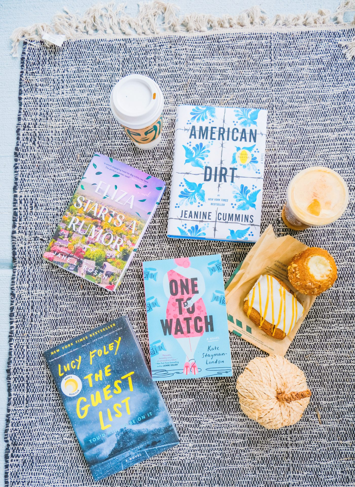 September book club, book club, American dirt, jeanie cummins, the one to watch, Katy stayman London, Eliza starts a rumor, Jane l Rosen, Lucy foley, the guest list, Starbucks, giveaway, pumpkin spice, autumn, fall