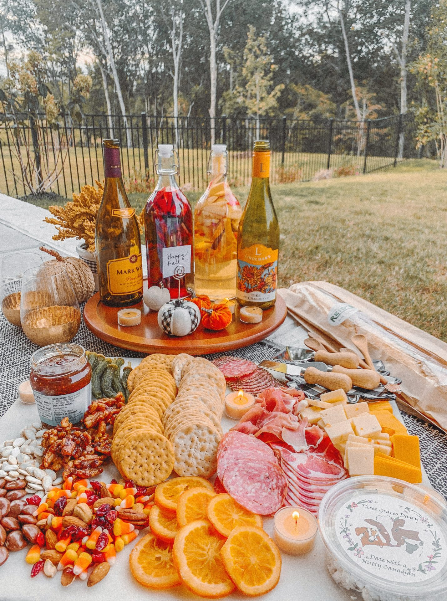 Charcuterie, fall, pumpkin, fall charcuterie board, reids fine food, autumn, orange slices, nuts, seasonal, sangria, spice, pumpkin spice, sweet, southern