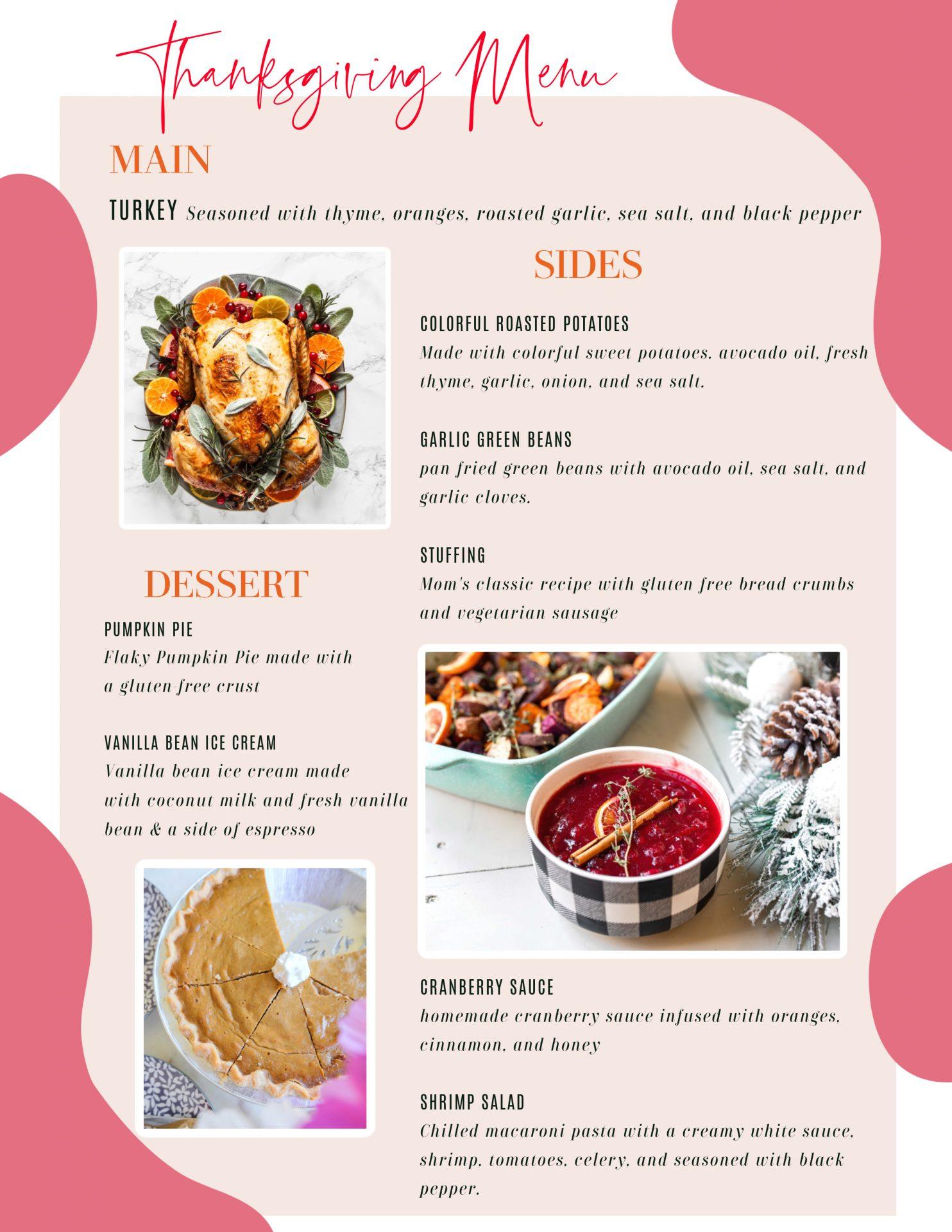 thanksgiving menu, gluten free, healthy gluten free, healthy thanksgiving