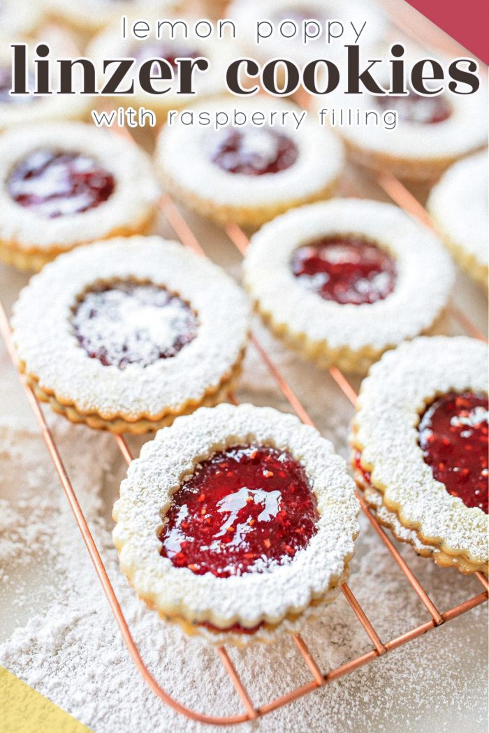 Lemon Poppy Linzer Cookies with Raspberry Filling