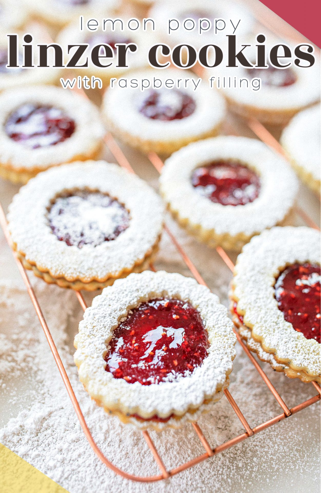 lemon poppy seed, lemon linzer cookies, shortbread cookies, vegan, dairy-free, lemon shortbread cookies, baking, jam, raspberry, jelly