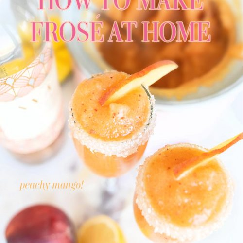Frosé, frose, rose, peaches, lemon, mango, frozen rose, frozen drinks, Ava grace, summer, spring, refreshing, party drinks, at home frose, frozen alcoholic beverage, ice cream maker