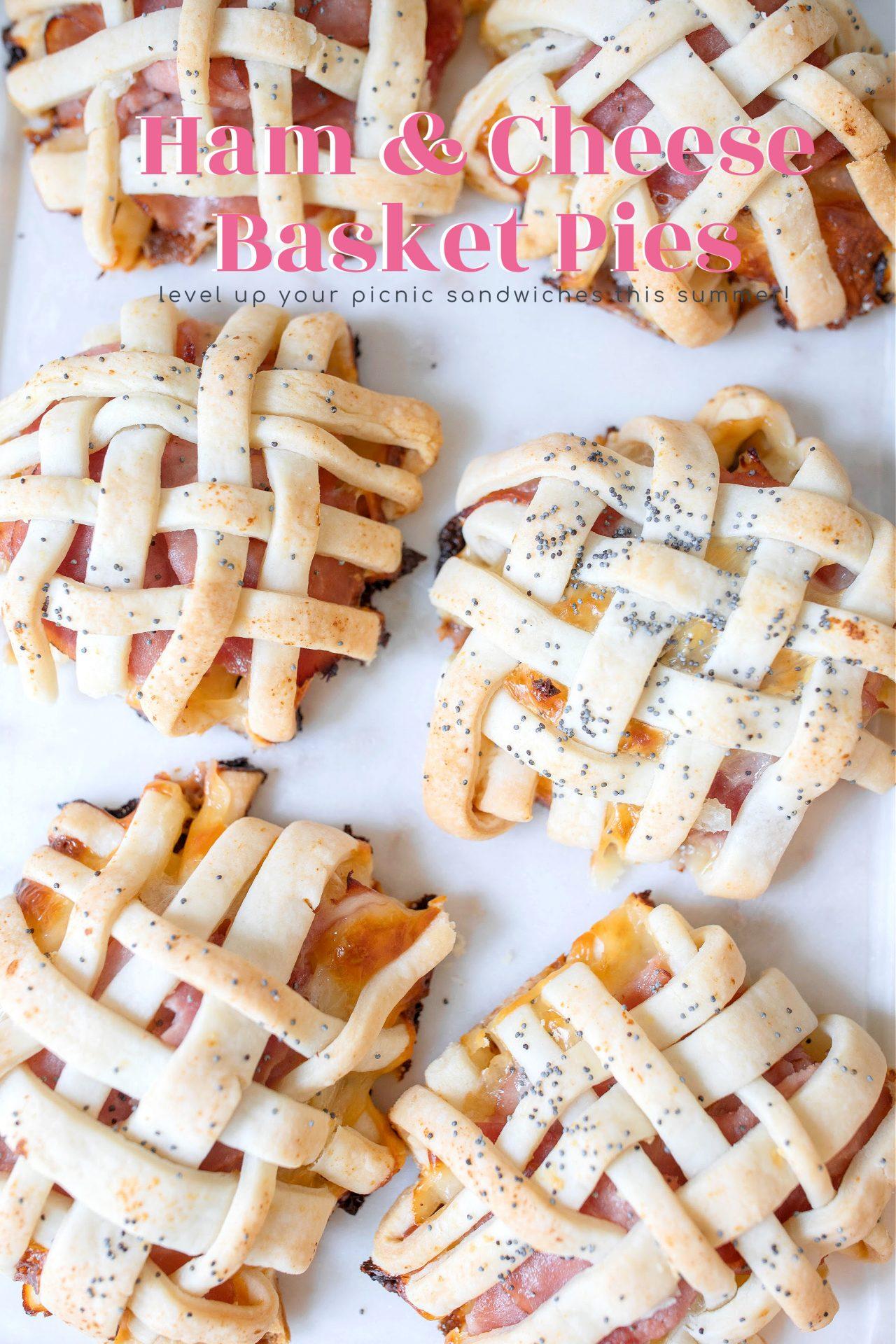 ham and cheese basket pies, sandwiches, picnic, pie savory, pot pie, baked poppy seed sandwiches, picnic food, recipe, easter, ham and cheese, easter recipe, spring, tiktok,