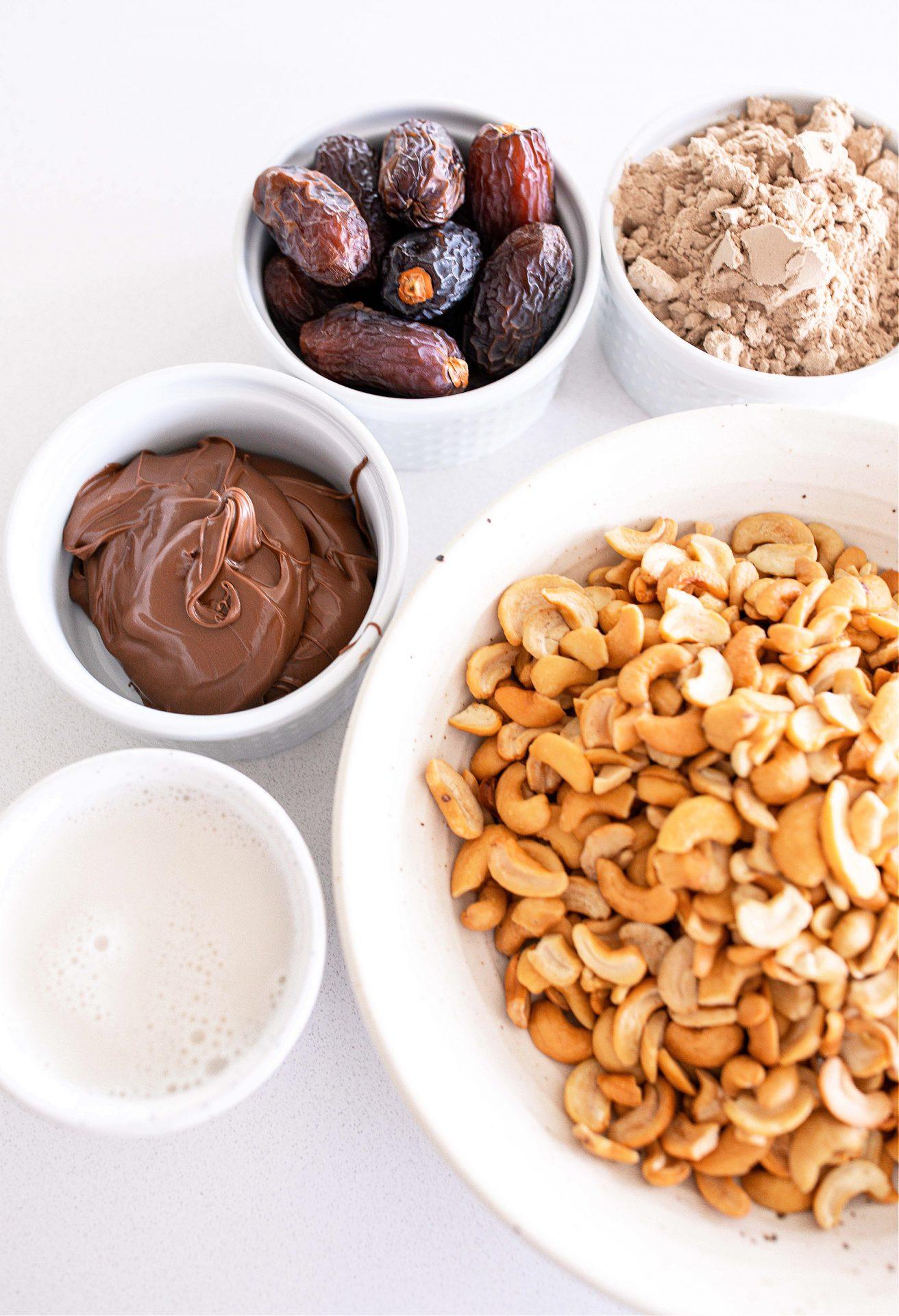 nutella, chocolate hazelnut, protein balls, plant based, gluten free, dairy free, grain free, low carb, healthy snack, chocolate, cashews, dates