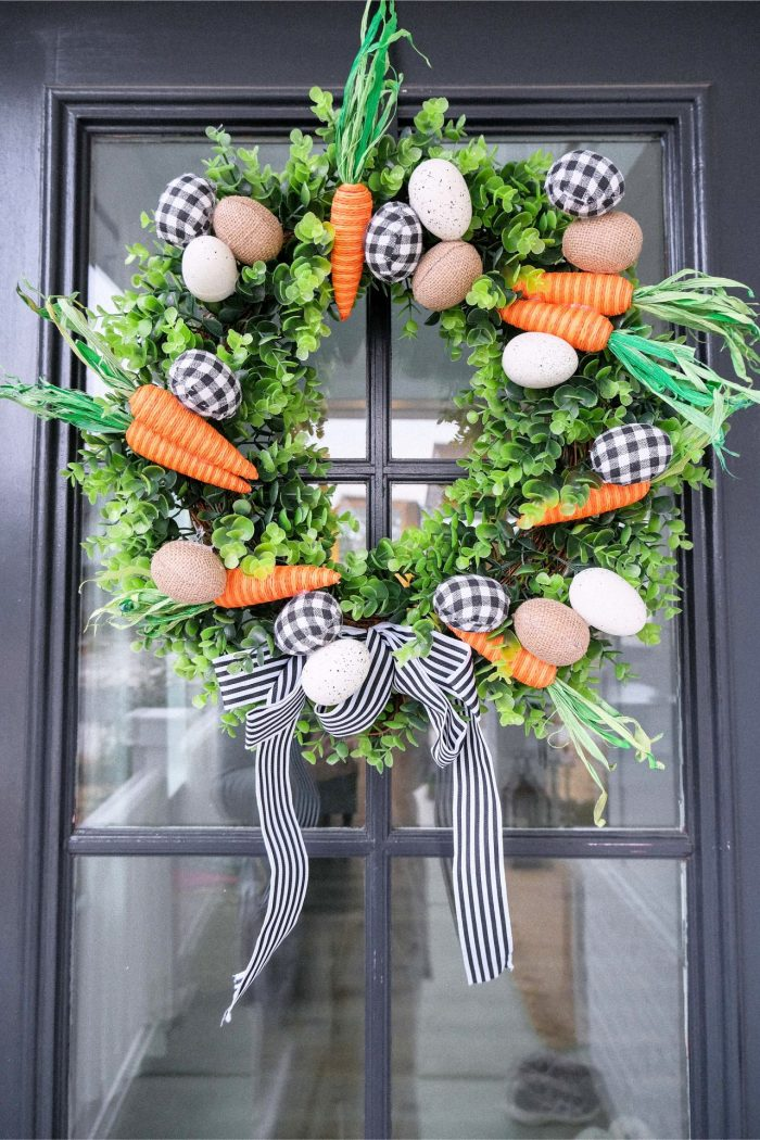 Wreath, carrot wreath, seasonal, spring wreath, diy, eggs, easter, home decor, front porch, hobby lobby, minimal, inexpensive, ghingam, carrot decor, spring diy, home projects