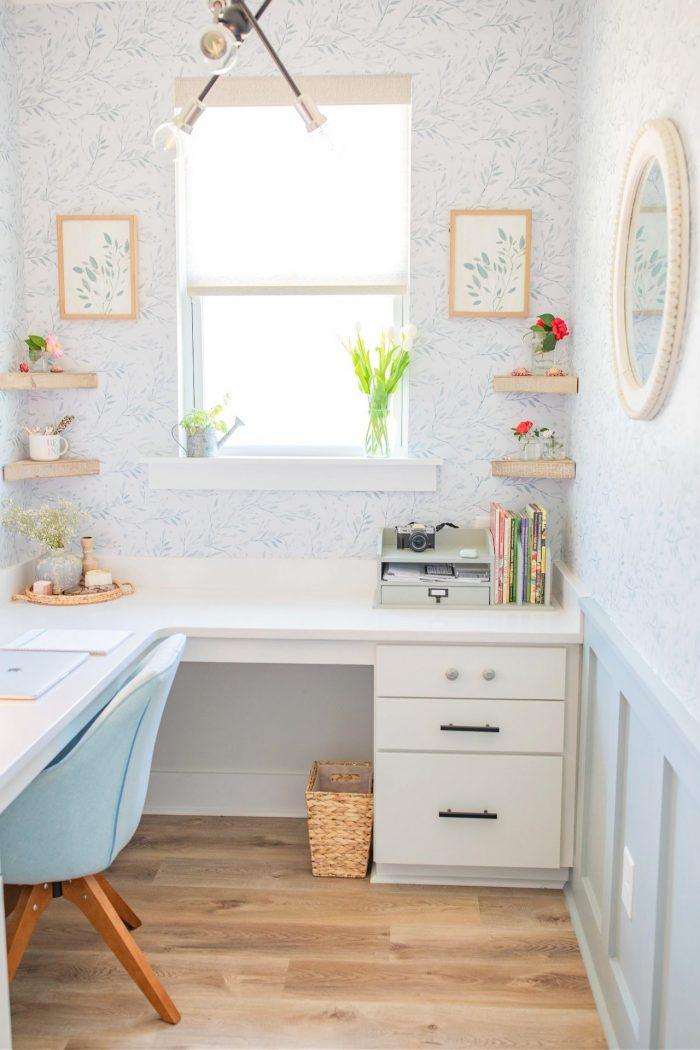 Cottage Style Office Decor | Board & Batten + Floral Wallpaper