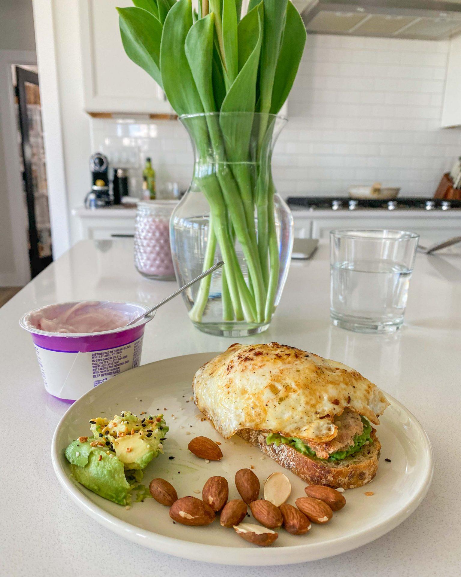 breakfast, egg, Applegate, chicken maple sausage, sandwich, yogurt, almonds, healthy