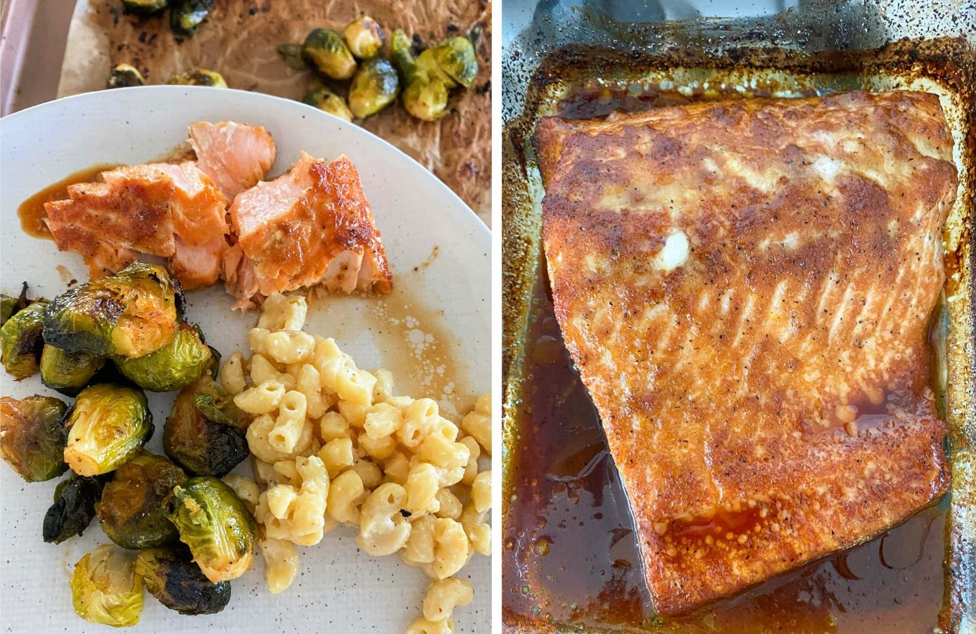 banza macaroni, Mac and cheese, salmon, tiktok Brussels sprouts, salmon, roasted, baked, dinner