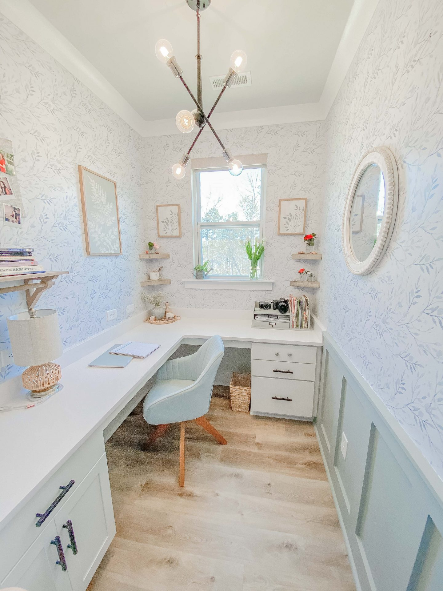 office, wallpaper, board and batten, blue office, cottage style, board and batten with wallpaper, cute and cozy, office space, girls, cottage core, cottage style, light blue, floral wallpaper, taralynn's house
