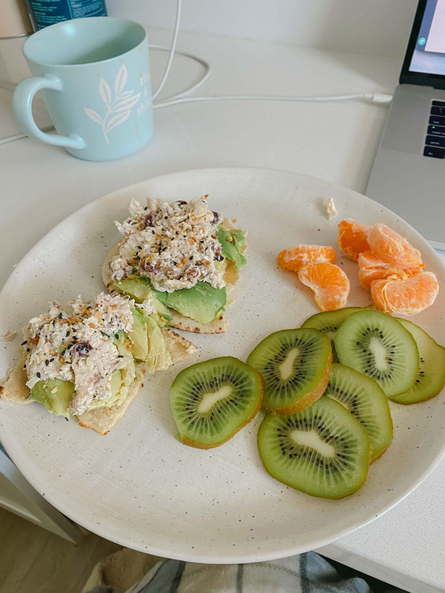 kiwi, tuna, pita, food, lunch, front porch, chicken salad, avocado, breakfast ideas