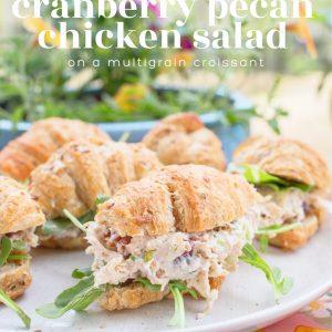 healthy chicken salad recipe, chicken salad, multigrain croissants, chicken, shredded chicken, cranberry pecan chicken salad, dairy free, picnic, summer food, yum