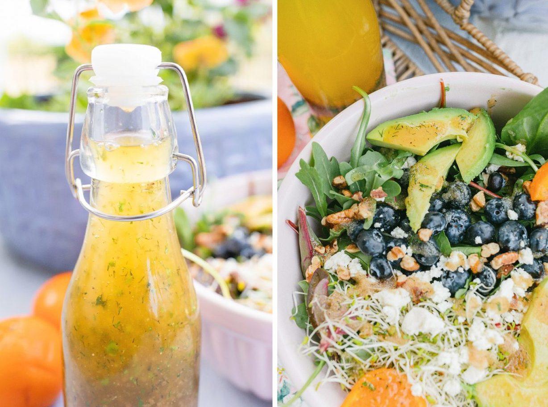 homemade salad dressing, tangerine vinaigrette, citrus vinaigrette, healthy salads, simply taralynn recipes, sprouts, nuts, avocado, gluten-free, diet, eat clean, weight loss food, summer