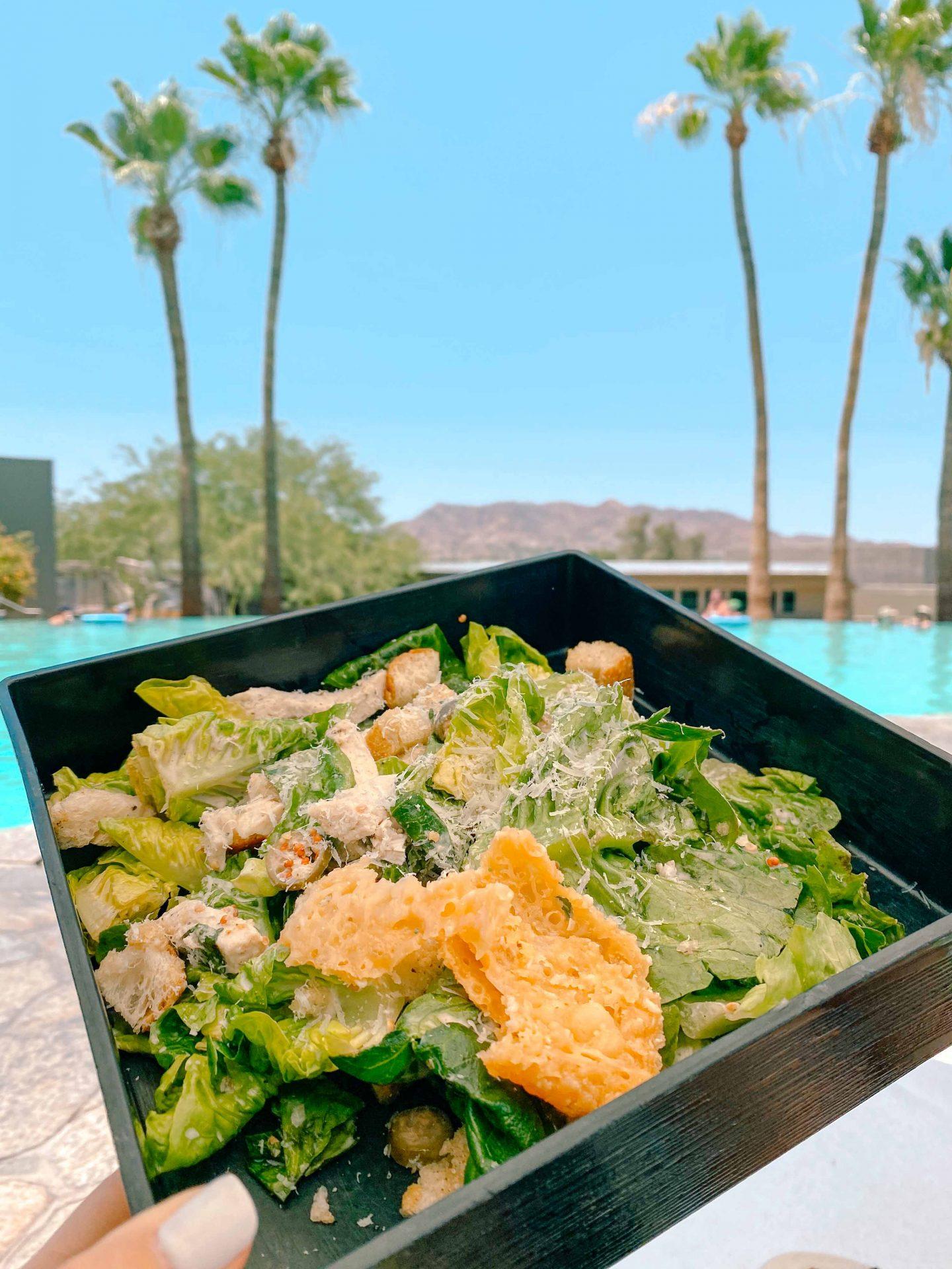 pool day, spa day, sanctuary resort scottsdale Arizona, French fries, Caesar salad, spa, massage, tea, treat yourself, relax, honeymoon, ultimate guide to scottsdale Arizona, summer guide