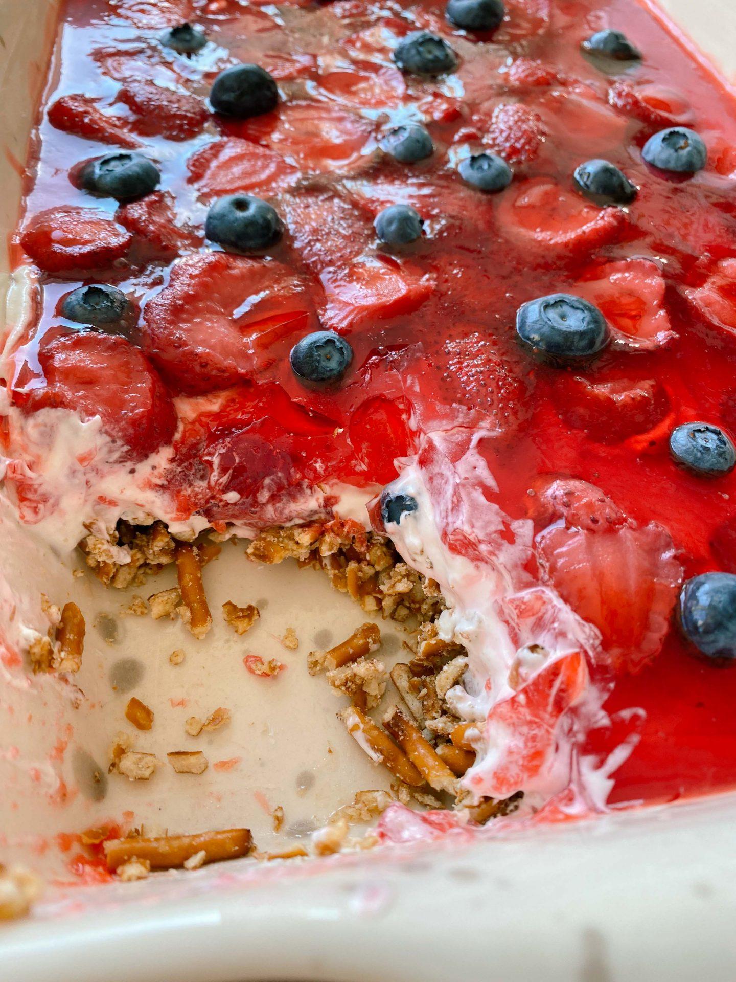 strawberry pretzel dessert forth of July recipe