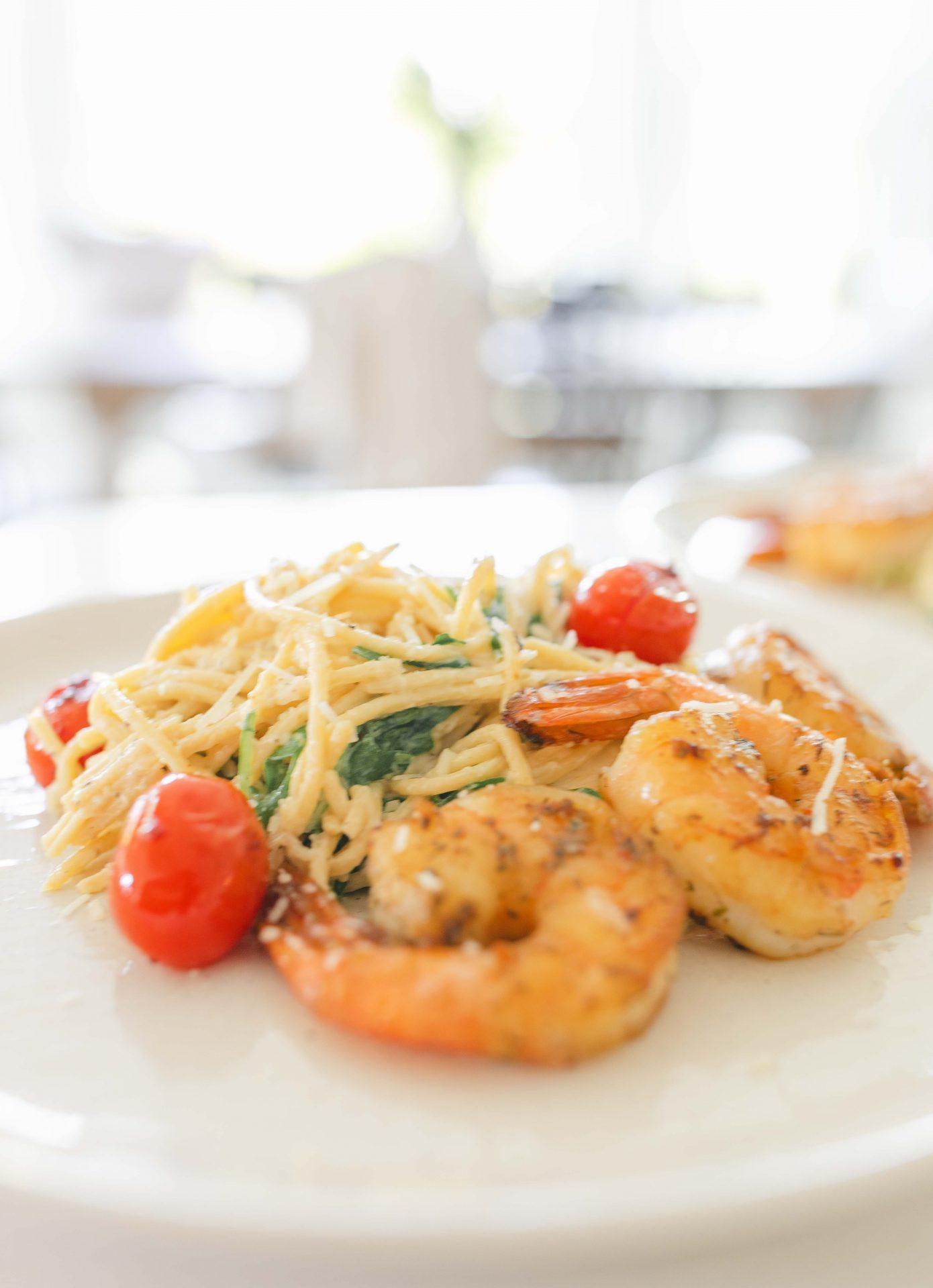 shrimp, pasta, carbonara, seafood, tomatoes, spinach, dinner, healthy, gluten-free, parm garlic, peach, citrus, herb, dinner, easy dinner