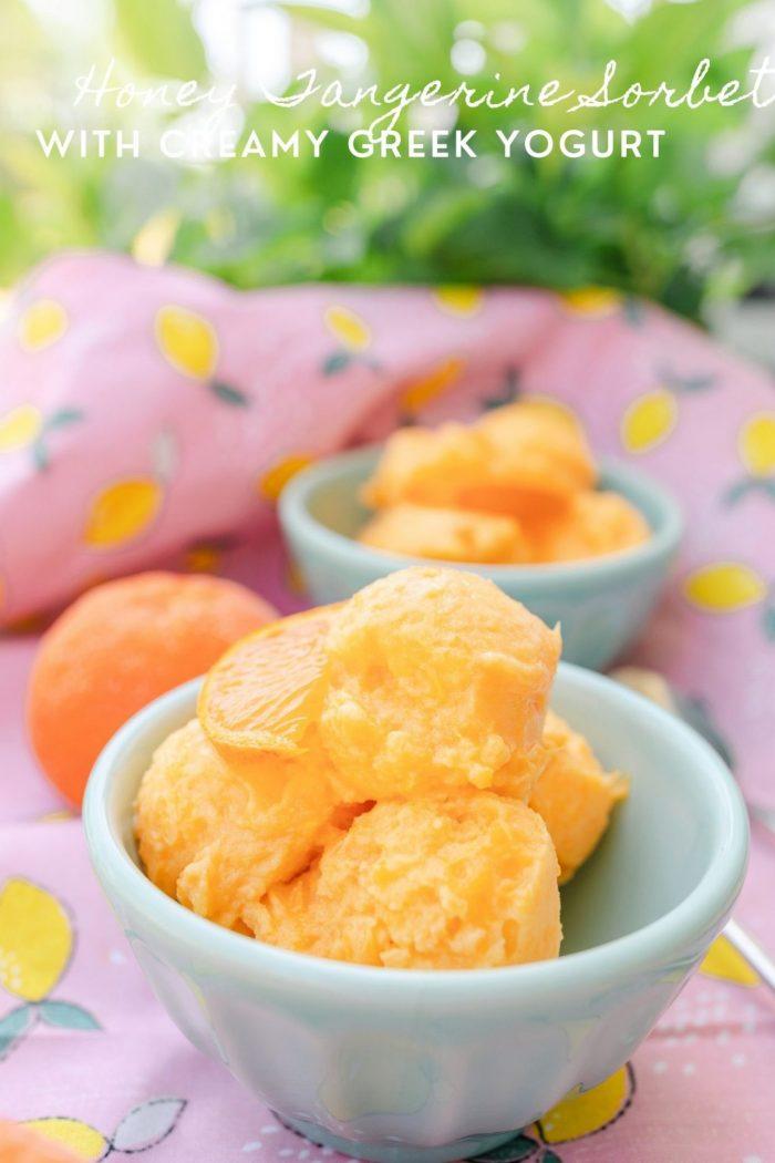Honey Tangerine Sorbet With Creamy Vanilla Greek Yogurt